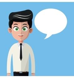 cartoon man necktie business with bubble speech vector image