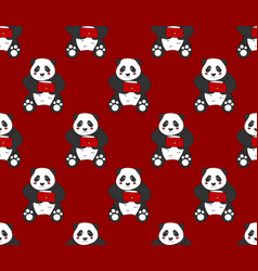 cute panda with red letter on red background vector image