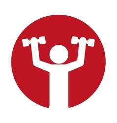 Man silhouette weight lift fitness vector