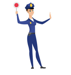 traffic police woman holding traffic sign vector image vector image
