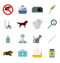 Veterinary icons set flat style vector image vector image