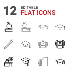 12 student icons vector