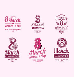 8 march greeting cards design dedicated women day vector