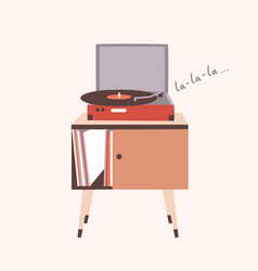 analog music player or turntable playing song or vector image