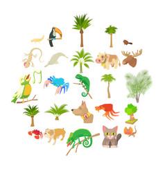 animal life icons set cartoon style vector image