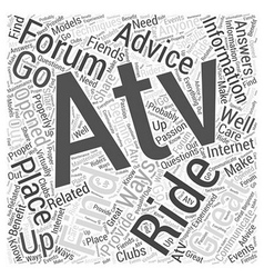 Atv forums word cloud concept vector