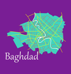 Baghdad city map - iraq flat isolated vector