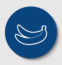 Banana simple sign white contour icon in vector