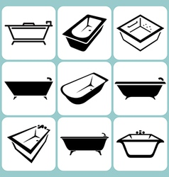 baths icons set vector image