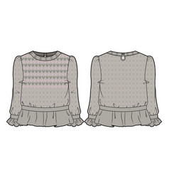 Beige knitted blouse vector