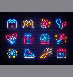 big collectin new year neon signs happy new year vector image
