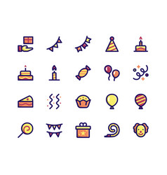Birthday filled line icons vector