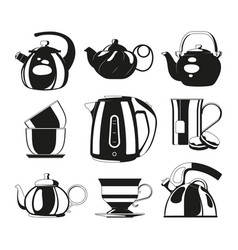 black kettles silhouettes of various vector image