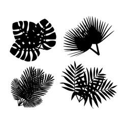 Black silhouette set tropical leaves flat vector