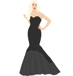 Blonde in black dress vector