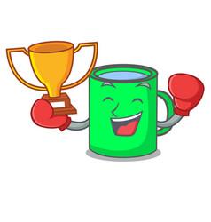 Boxing winner mug mascot cartoon style vector