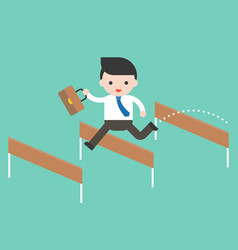 Business man jump pass hurdle pass the obstacles vector