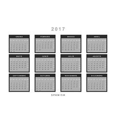 Calendar 2017 in Spanish simple modern vector image