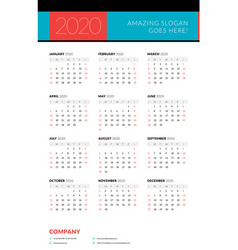 Calendar for 2020 year week starts on sunday vector