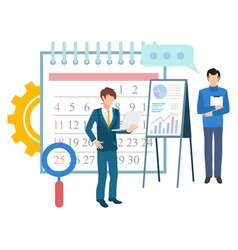 Calender and workers business management deadline vector