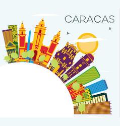 caracas venezuela skyline with color buildings vector image