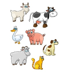 Cartoon cow dog sheep pig cat goat goose vector