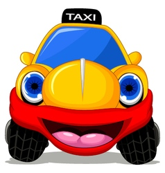 Cartoon taxi car with red smile for transportation vector