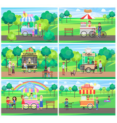 carts with street fast food in green parks set vector image