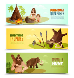 Cavemen horizontal banners vector