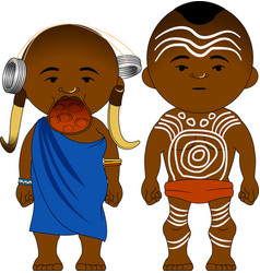 Cheerful african couple from mursi ethiopia vector