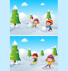 Children playing in the snow field vector