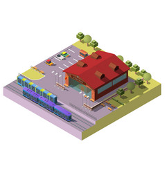 city railway station building isometric vector image