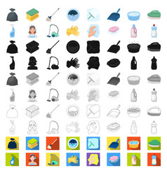 Cleaning and maid cartoon icons in set collection vector