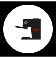 Coffee maker simple isolated black and red icon vector