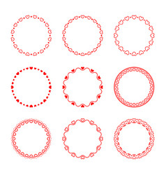 collection of simple romantic round frames vector image