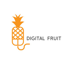 computer mouse and pineapple design template vector image