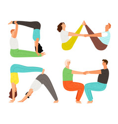 couple yoga poses vector image