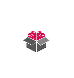 Creative box brain logo design symbol vector