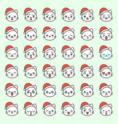 Cute santa cat emotion face in various expession vector