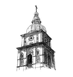 Digital drawing ukrainian church engraving vector