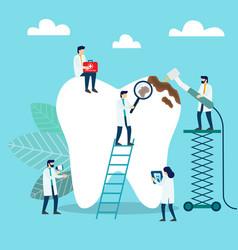 doctors who treat giant teeth like cures dental vector image