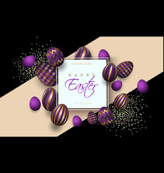 easter card with square frame golden purple vector image