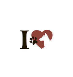 emblem of dog in heart vector image