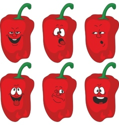 Emotion cartoon red pepper vegetables set 013 vector image