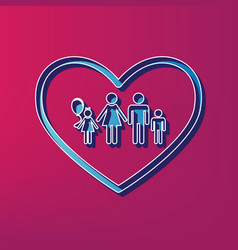 Family sign in heart shape vector