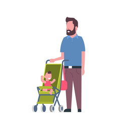 father beard with baby son in stroller full length vector image