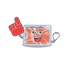 Frozen salmon presented in cartoon character vector