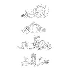 fruits and vegetables pen line vector image
