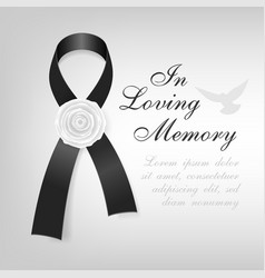 funeral card black awareness ribbon with white vector image