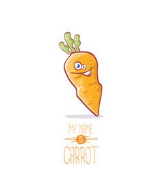 funny cartoon cute carrot character vector image